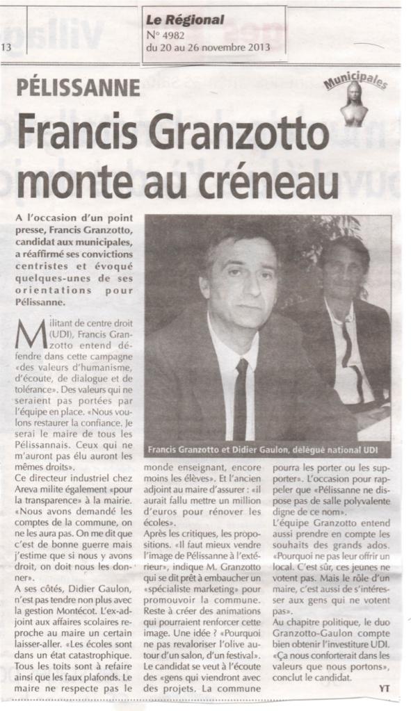 Article Le Régional du 20 septembre 2013