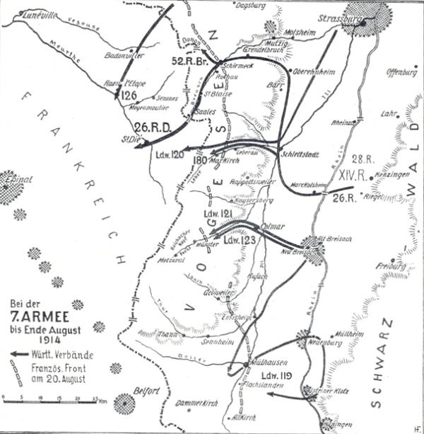 Le front de l'est au 20 août 1914