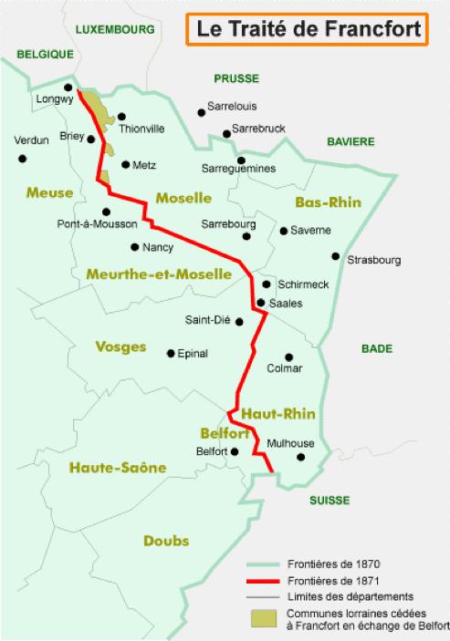 la frontière entre la France et l'Allemagne résultant du traité de francfort