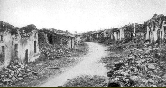 Les ruines du village de Fleury