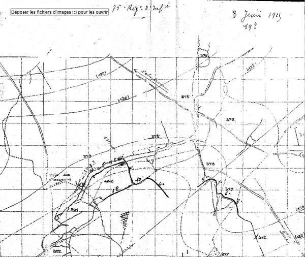 la zone des combats près du 75ème RI, près d'Hébuterne