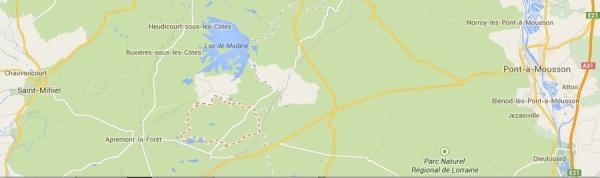 La commune de Xivray (pointillés rouges)