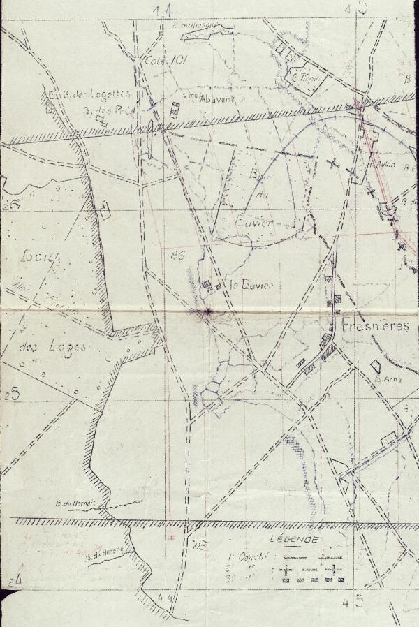 carte Bois des Loges annexée au JMO