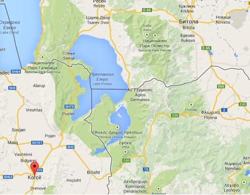 Localisation de Koritza (Korce, en Albanie) et Monastir (Bitola, en Serbie)