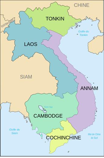 carte des composantes de l'Indochine en 1914