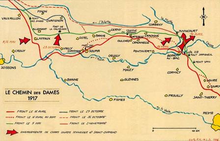 carte du front lors de la reconquête en 1917