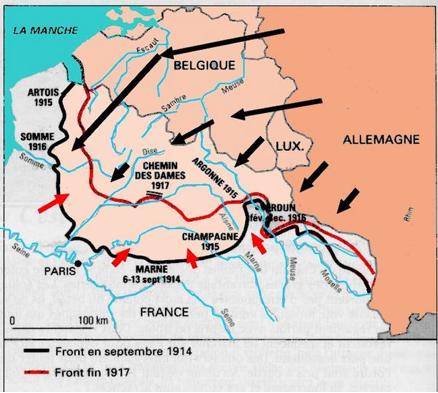 Le front en fin 1917 et le territoire reconquis dans l'année